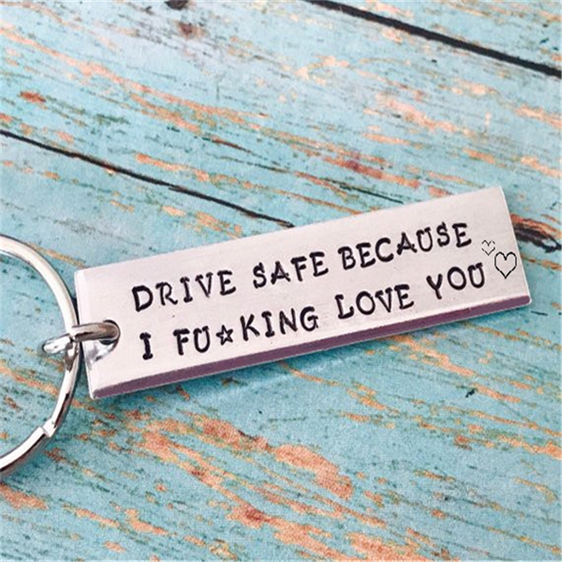 Key Chain Drive Safe Becaurse I Love You For Lovers Couples Boyfriend Girlfriend DIY Stainless Steel Keychain Letters Key Ring