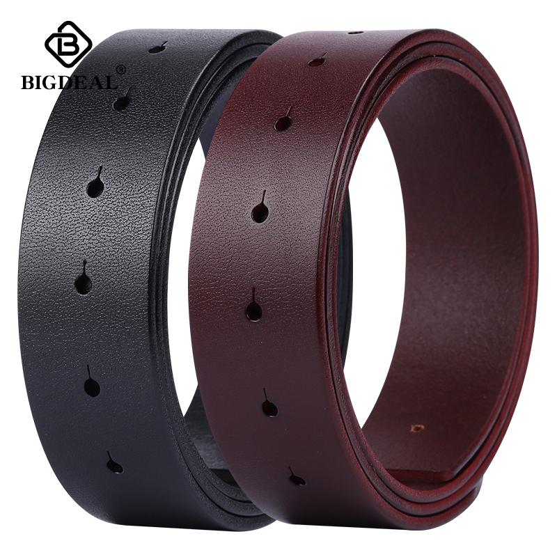 BIGDEAL Diy Belt Genuine Leather Without Buckle Replace Belt Cowskin Leather Belt Body Pure Color Smooth Buckle Cowhide Waistban