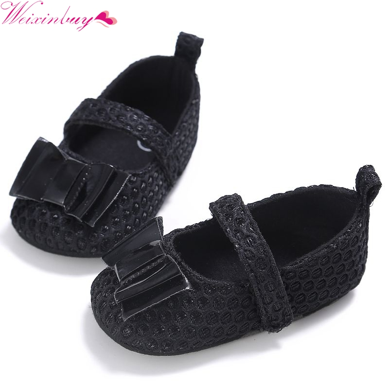 Newborn Princess First Walkers Soft Soled Bebe Ballet Dress Shoes Sweet Butterfly-knot Infant Toddler Baby Girl Shoes