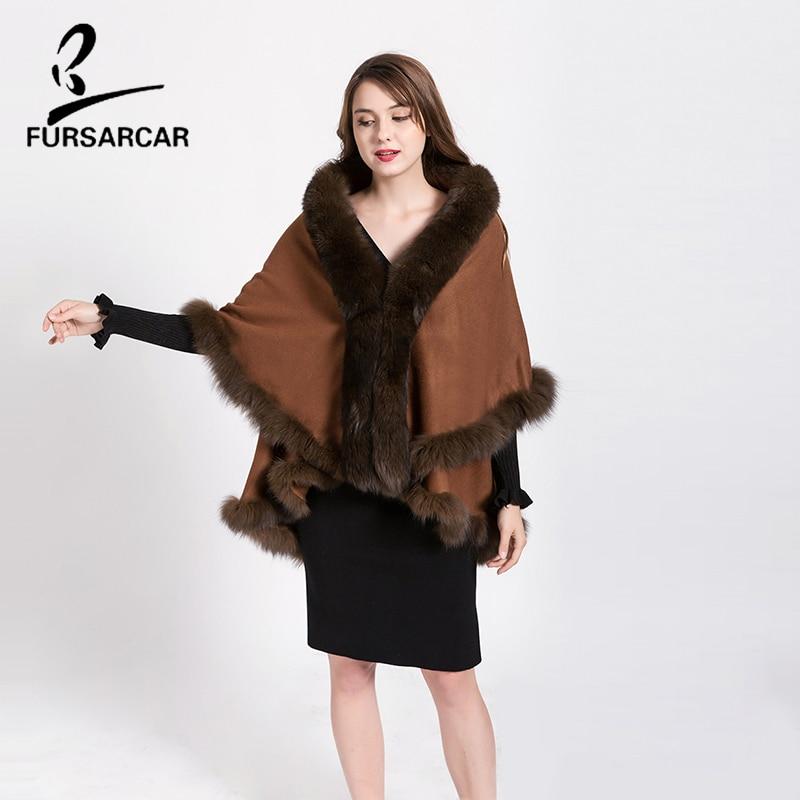 FURSARCAR Téli valódi szőrme Cape hosszú hosszú kasmír szőrme - Női ruházat