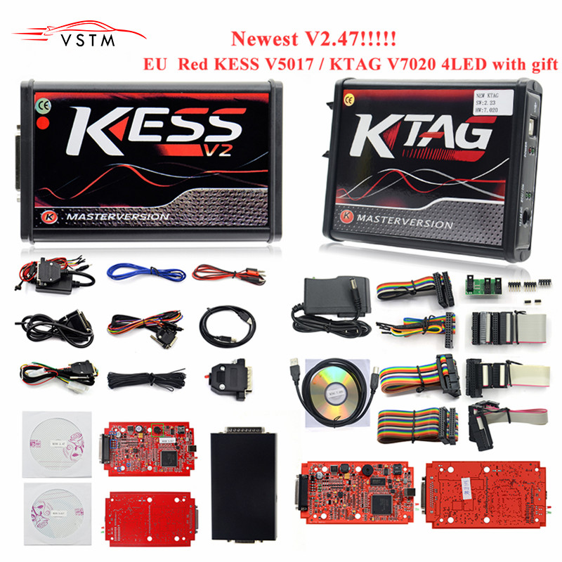 4 Led en ligne Master KESS V2.47 2.47 rouge Ktag V7.020 V2.23 v2.25 pas de limite de jeton K Tag 7.020 7020 ECU programmeur cadeaux ECM Winols