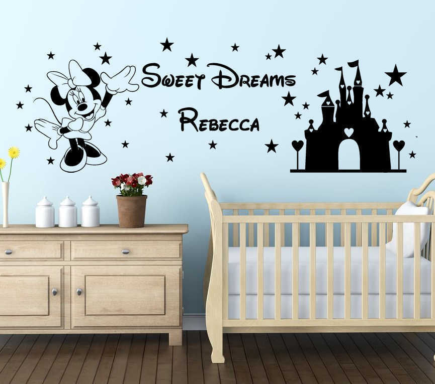 Mickey Mouse Wall Decal Personalised name Princess Kidu0027s Sticker Art Home  Decor In The Girlu0027s Bedroom
