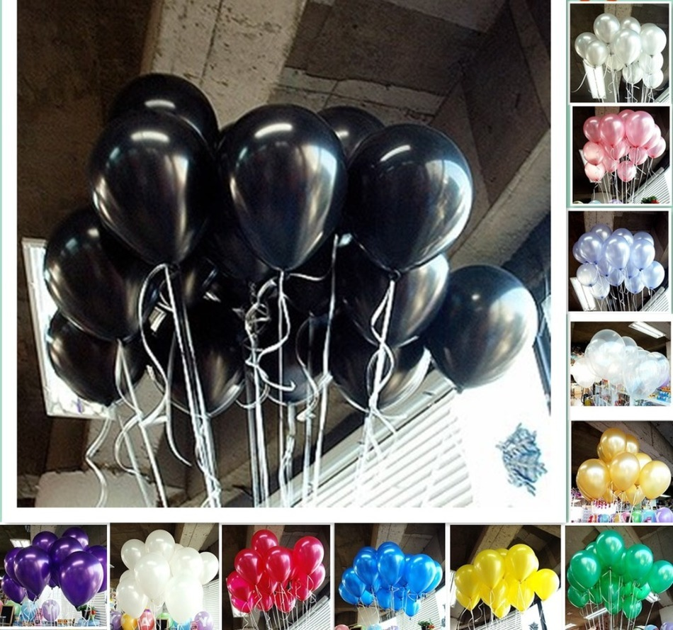CAMMITEVER 10Pcs Balloons Wedding Latex Glossy Party Red Pink Black Birthday Bal