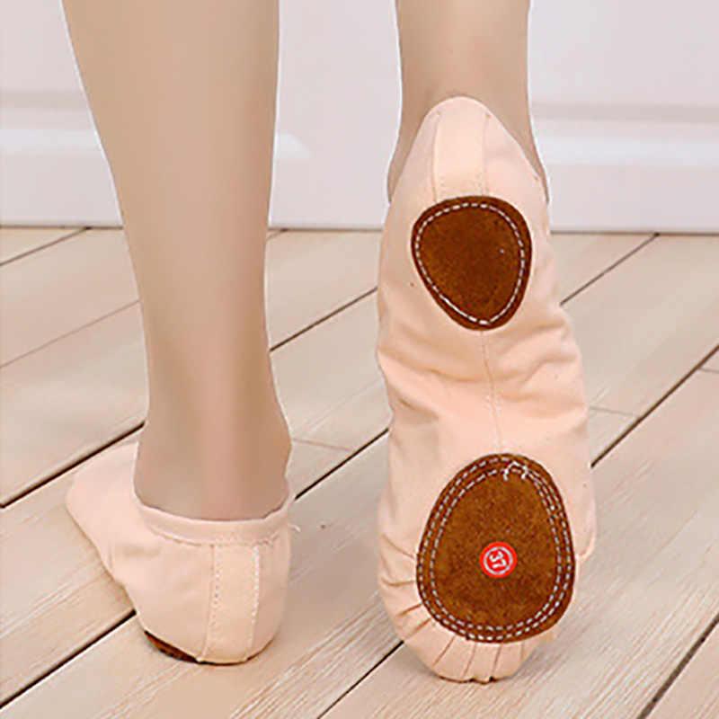 USHINE جديد المهنية كامل شريط مطاطي رباط الحذاء التدريب الجسم تشكيل اليوغا أحذية مفتوحة الباليه الرقص أحذية أطفال بنات امرأة