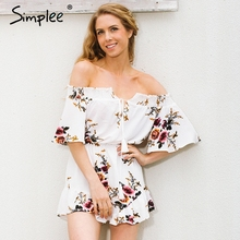 Simplee Off shoulder print jumpsuit romper women Sexy high w
