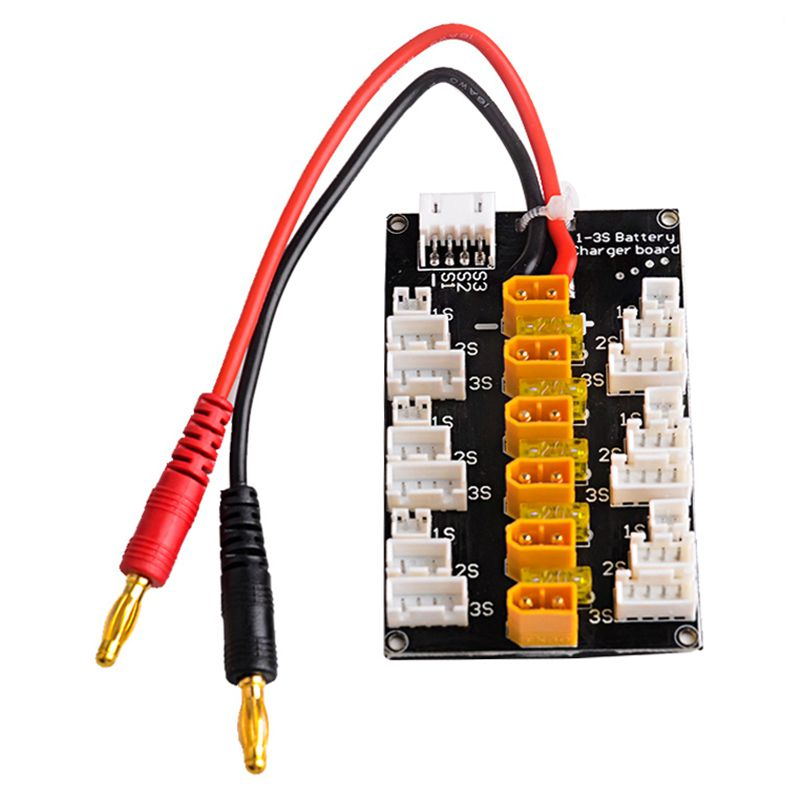 XT30 Plug Parallel Lipo Charging Adaptor Board for 1S 2S 3S LiPo Batteries Compatible with 6pcs XT30 to JST Cable image