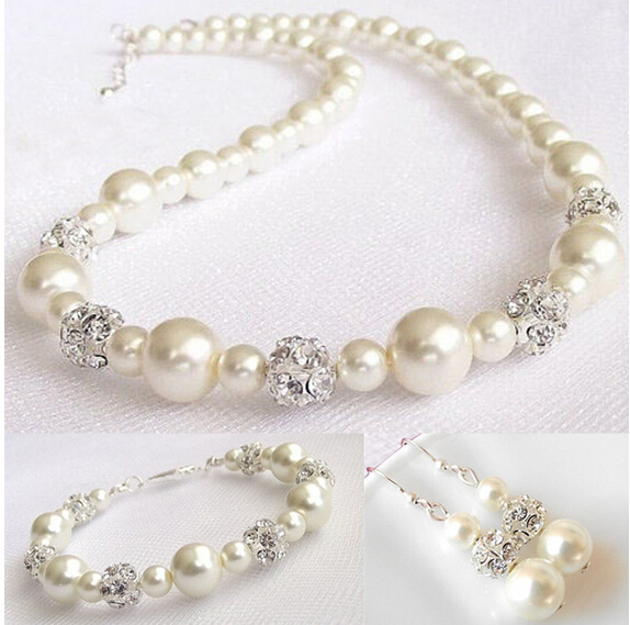 Imitation White Pearl Jewelry Sets Necklace Earrings Bracelet African Beads Set Wedding Bridesmaid Gift In From