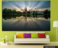 Germania Templi Pond Paesaggio Classica Pittura A olio Disegno Spray art Senza Cornice Tela metallica quadrata piazza picture14103116