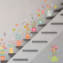 vivid 3D effect nature plant flower pot wall stickers for kids rooms butterfly window art decals 75*82cm DIY posters
