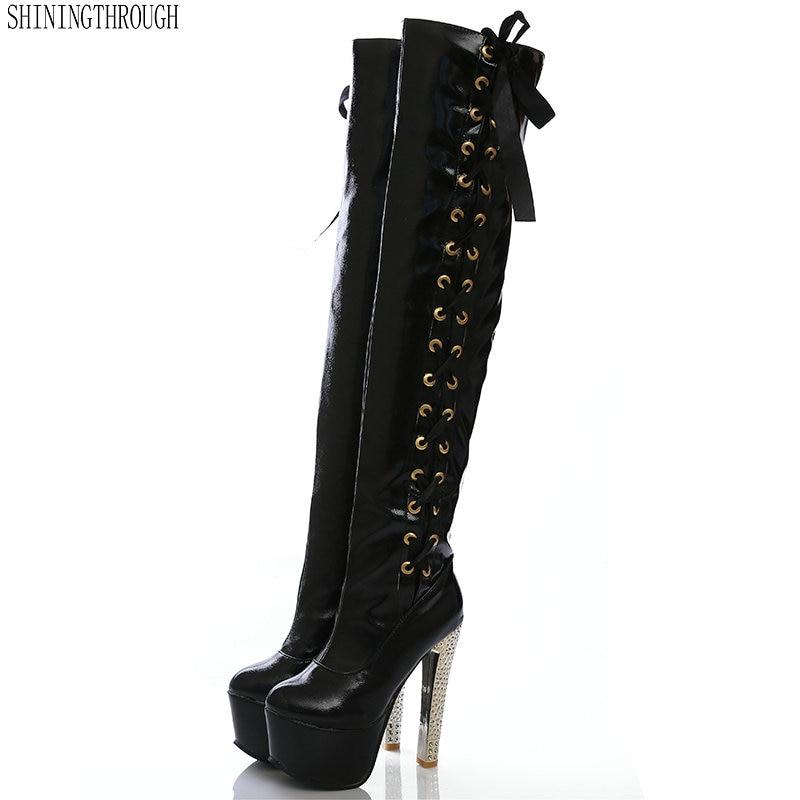 New 15cm super high heels women Boots 6cm platform lace up knee high boots ladies dress