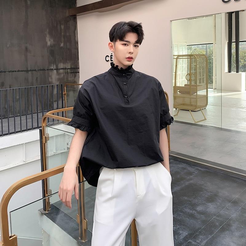 Men Summer Wear 2 Styles Short Sleeve Stand Collar Loose Casual Shirt Male Fashion Japan Streetwear Dress Pullover Shirts