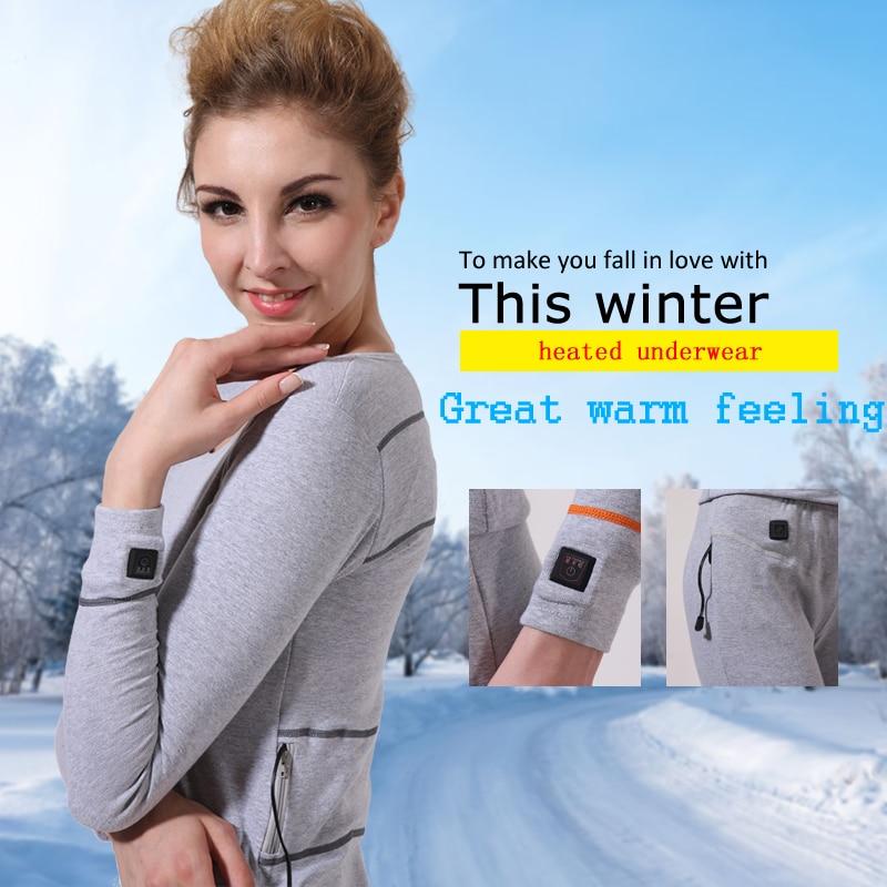 Sauveur chauffée de femmes sous-vêtements d'hiver sports de plein air 40-55 degré 3 niveau contrôle de chauffage de sécurité pantalon en tissu coton de noël