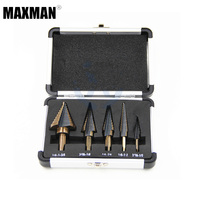 MAXMAN 5pcs Set HSS Cobalt Multiple Hole 50 Sizes Step Drill Cone Drill Bits Set With