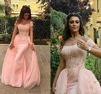 Blush Pink 2018 Mermaid Off Shoulder Formal Evening Dresses Arabic Dubai Abaya Floor Length Long Lace Appliques