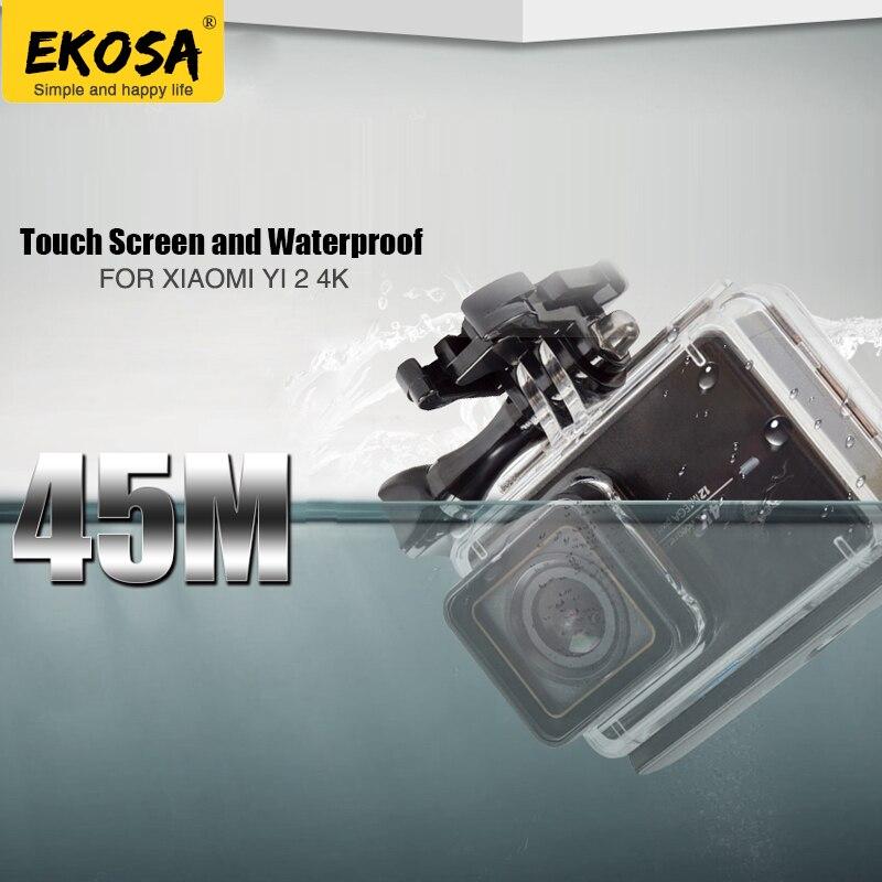 EKOSA Waterproof Housing For Xiaomi Yi 4K Action Camera Accessories Diving Touch Screen Case Surfing Hard