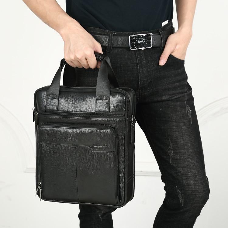 marca bolsos de hombre de cuero Split Moda hombre bolsos de mensajero hombre Casual bandolera bolso de hombro para iPad Mini clásico(#Marrón)