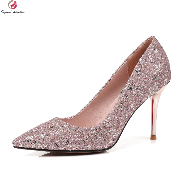 Original Intention New Fashion Women Pumps Glitter Pointed Toe Thin High Heels Pumps Stylish Pink Shoes Woman Plus US Size 3-13 bowknot pointed toe women pumps flock leather woman thin high heels wedding shoes 2017 new fashion shoes plus size 41 42