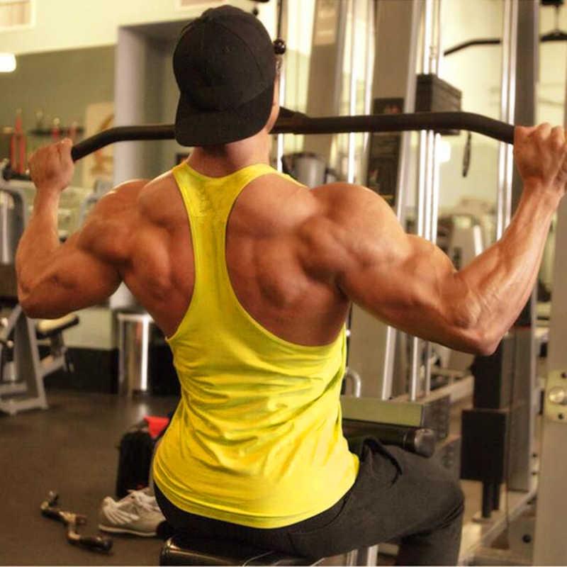 ฤดูร้อน Mens Y กลับเพาะกายชายแขนกุดเสื้อกั๊ก Vest Gyms เสื้อผ้าฟิตเนสกล้ามเนื้อ Stringer Tanktop ผู้ชาย