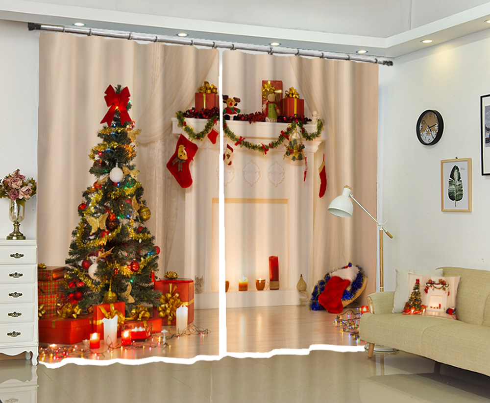 US $72.5 42% OFF|Luxury 3D Curtains for Living room Bedroom Christmas  Decorative Drapes Hotel Wall Tapestry cortinas salon rideaux gordijnen-in  ...