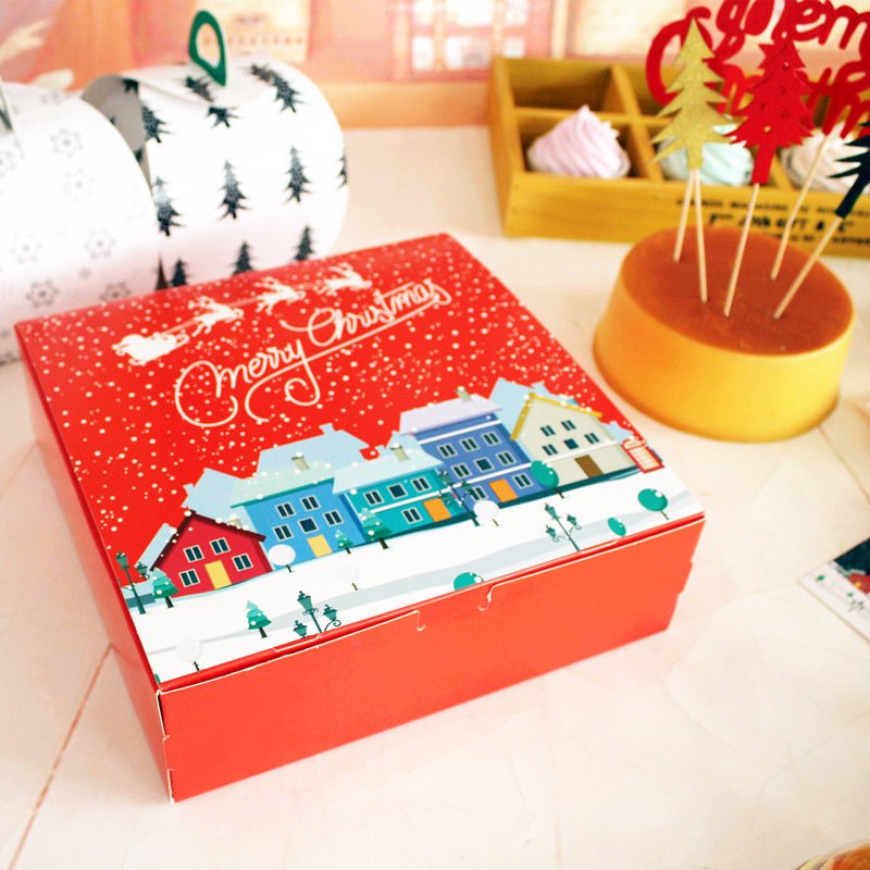 Red Square 8 Inch Cheese Cake Box Christmas Gingerbread