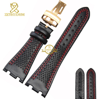 Genuine leather bracelet Watchband mens Sports watch strap Black Double red stitched 28mm high quality Watch accessories