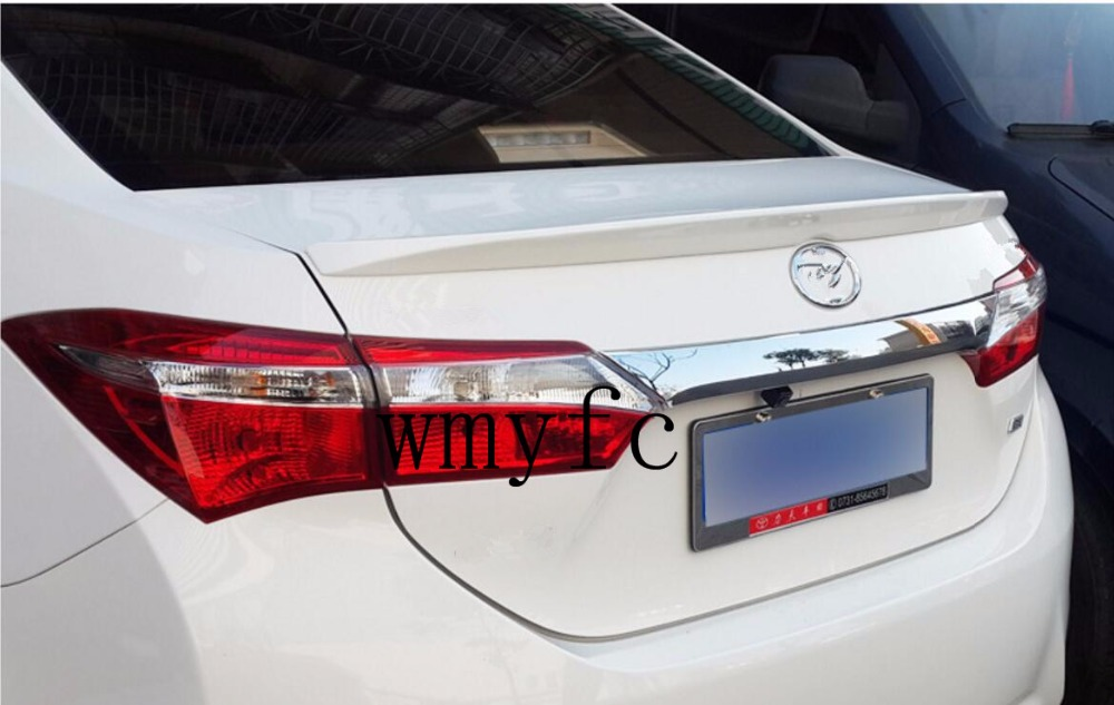 Fit for 11 generation Toyota Corolla 2014 2015 2016 2017 ABS Rear Spoiler Wing Trunk Lip Decoration Trim paint abs car rear wing trunk lip spoiler for 16 17 toyota vios 2014 2015 2016 2017 by ems