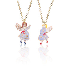 Fashion Creative DIY Handmade Jewelry Gold Enamel Alloy Pendant Single-Sided Stereo Western Angel Necklace Dropshipping