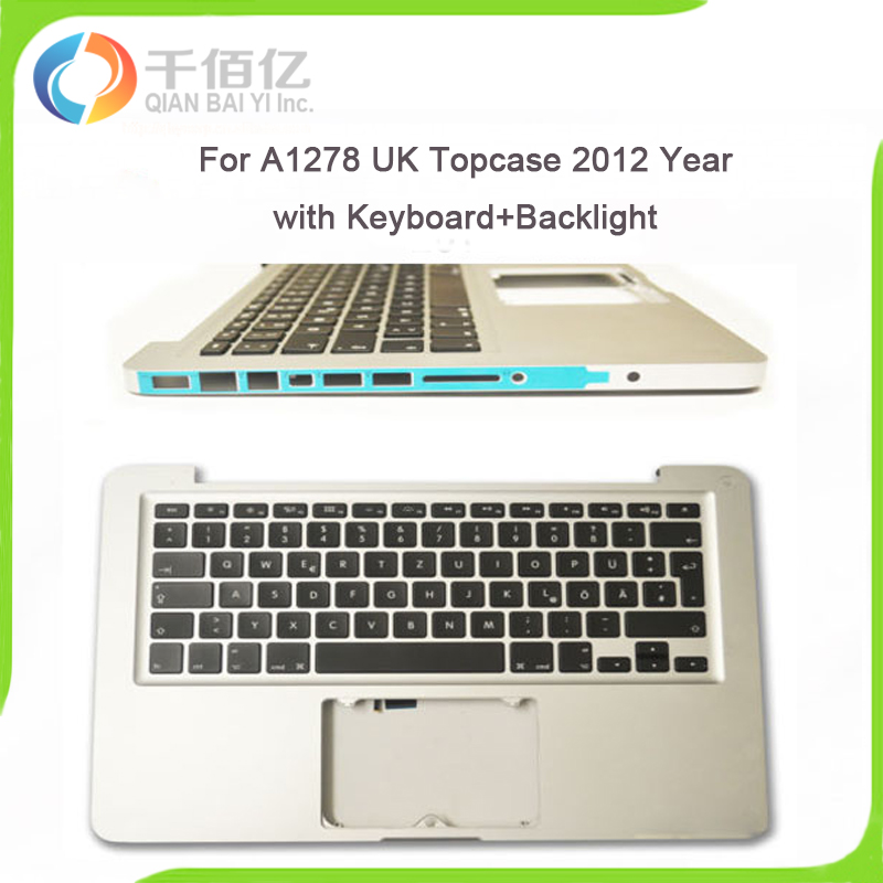 Original Laptop 98% New Silver A1278 UK Topcase for Macbook Pro 13'' A1278 UK topcase with keyboard 2012 Year brand new laptop uk keyboard for apple macbook pro 13 a1278 keyboard uk english keyboard replacement 2009 2010 2011 2012 year