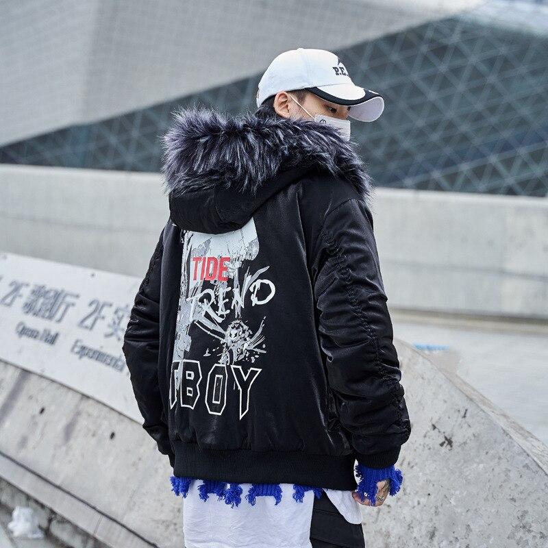 Streetwear À vent Chaud Coupe Hiver Capuche Hop Veste Parkas Hommes Manteaux Noir De Cloehes Black Wj101 Col Épais Parka Mens Fourrure Hip pxnnWU7F