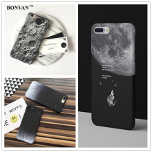 BONVAN Fashion Starry Sky Case For Apple iphone 7 Case Cartoon Moon Hard PC Phone Cases Cover For iphone 6S 6 7 Plus Black Coque
