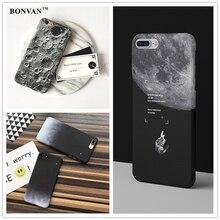 Мода звездное небо case для apple iphone 7 чехлы для телефона case мультфильм луна жесткий pc phone случаи обложка для  бампер чехол на айфон 6s 6 7 plus плюс черный