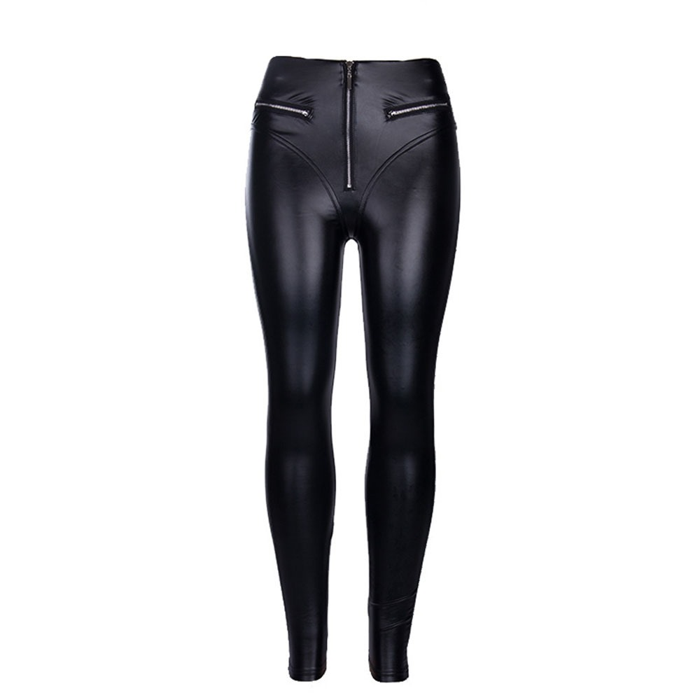 Gothic Black Fashion PU Leather Casual Pants Women Autumn Elastic Fitness Pencil Pants Streetwear Punk Club Sexy Skinny Trousers