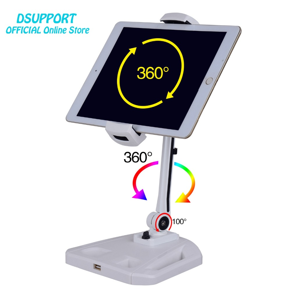 360 Full Rotation Foldable Aluminum Alloy 4.7-12.9 inch Tablet PC Holder/Smartphone Holder Stand Arm