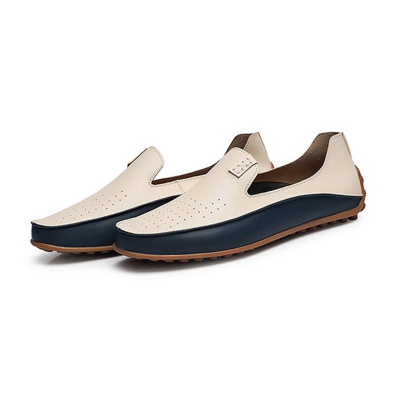 Appartements Mocassins beige Zapatos Chaussures Hommes Conduite Plus Cuir Marque Blue Haute De Véritable Causalité Hombre D'été La Taille En Belle Qualité YwpqROW