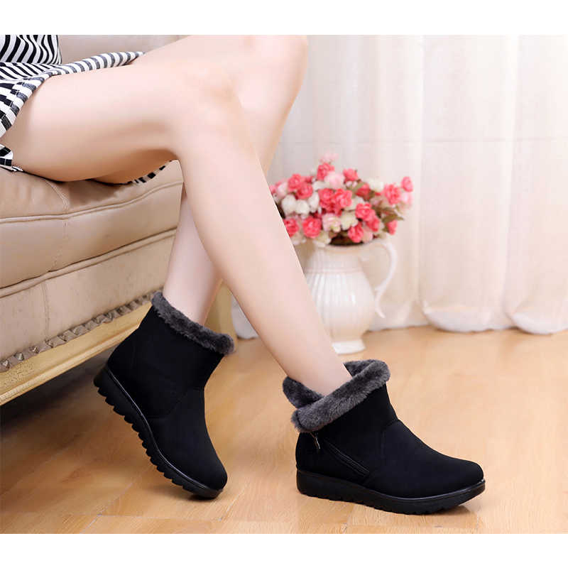 Women Boots Winter Shoes 2019 Ankle Boots For Women Shoes Snow Botas Mujer Casual Booties Warm Winter Black Red Brown boots