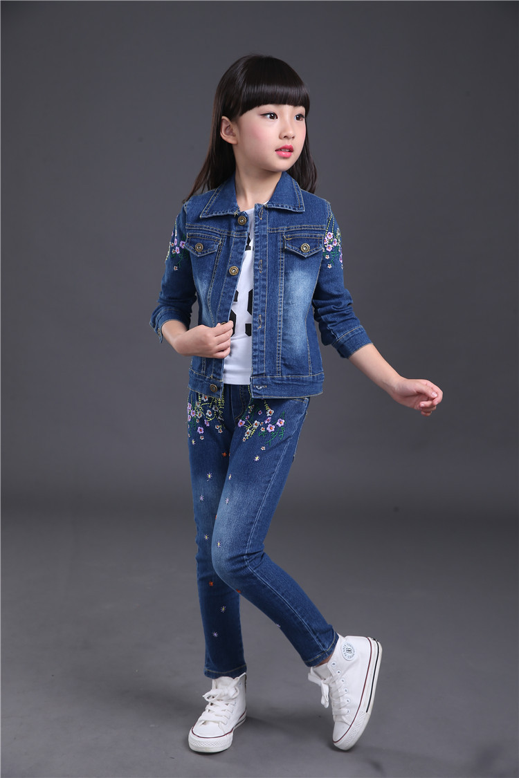 Children Spring Autumn Fashion Cowboy Suit Girl Recreational Shoes With Embroider Blue 12 Inchi Embroidered Denim Jacket Jeans 2 Piece Set 4 14 Aged Kids Clothes In Clothing Sets From Mother