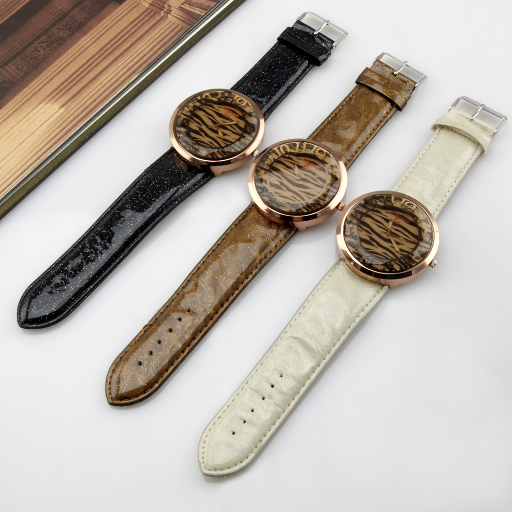 Top Sale Fashion Zebra-stripe Dial Quartz Watch Ladies' PU Leather Band Analog Wristwatches For Women Hot WH114