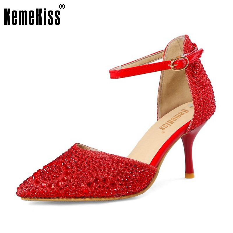 KemeKiss Size 34-45 Elegant Lady High Heel Sandals Bling Pointed Toe Shoes Ankle Strap Summer Sandals Wedding Club Footwear meotina shoes women sandals summer sexy stiletto high heel sandals open toe ankle strap party pumps lady shoes purple size 34 43