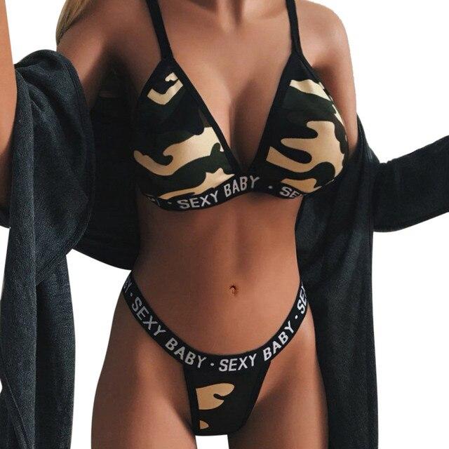 b48d4e0028 Bra Set Camouflage Print Lingerie Set Bralette Women Sexy Bra Womens Bras  and Underwear Thong Sets Lenceria