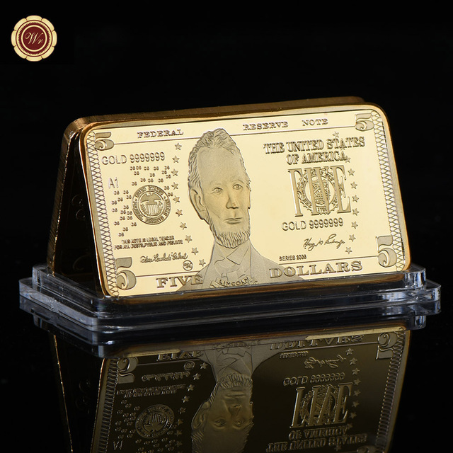 Wr 5 Dollar American Gold Bar 24k 999 9 Plated World Banknote Fake Bars Metal Crafts Value Collection