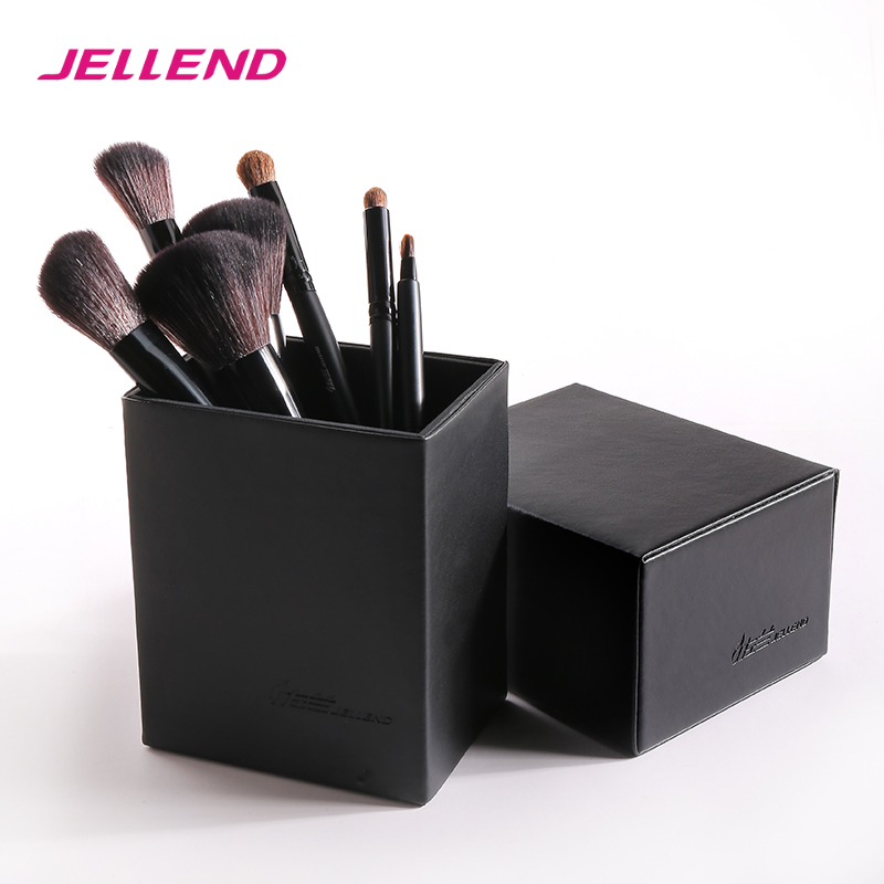 JELLEND 2017 New Magnetic Empty Portable Makeup Brush Round Pen Holder Cosmetic Tool PU Leather Cup Container Brushes Organizer maange dropship leather cosmetic case portable storage makeup bags organizer brush holder cup pu material anne