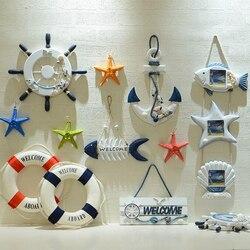 Pa. an decoración Mediterránea para el hogar, conchas artesanales, peces de estrellas, Red de timón, creativa decoración de pared del dormitorio para sala de estar