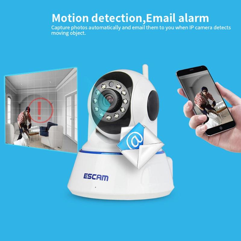 цена на Escam QF002 Mini WiFi IP Camera HD 720P CCTV security Webcam System P2P IR Cut Two Way Audio Micro SD Card Slot Night Vision Cam