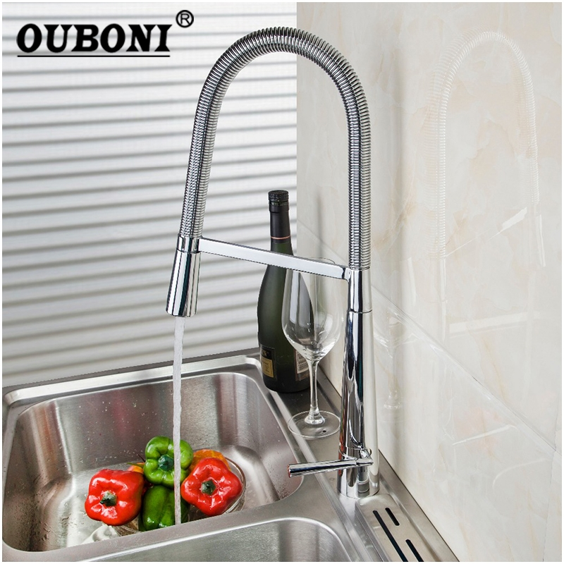 OUBONI Solid Brass Chrome Swivel Kitchen Faucet Deck Mounted Mixer Tap Pull Down Single Handle Basin Sink Faucets Faucet Tap pull down deck mounted single handle single hole chrome finish bathroom basin faucet sink mixer tap
