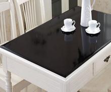 1,5mm wasserdicht ölbeständiges tischdecke Weichen Glas quadrat schwarz PVC Tischdecke für Hochzeit esstisch matte transparente tischdecke