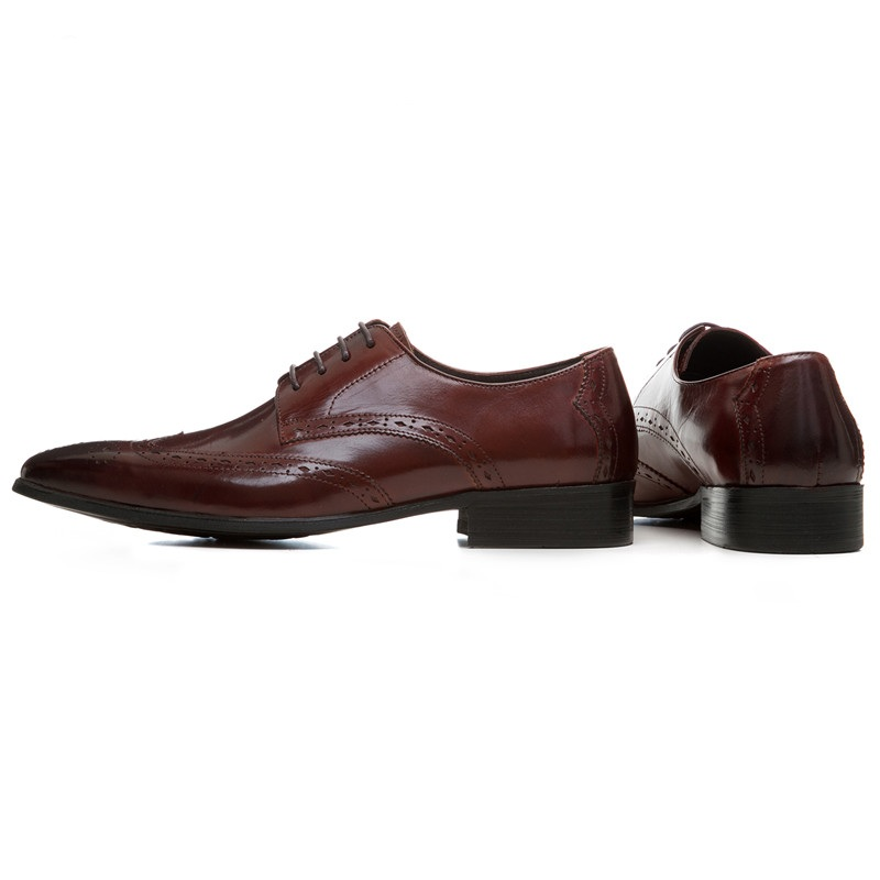 Black Boda Zapatos Hombre Cuero Puntiagudo Genuino Moda brown Vestir negro Marrón Para De Tan Negocios Dedo Oxfords XqBpTnw6O