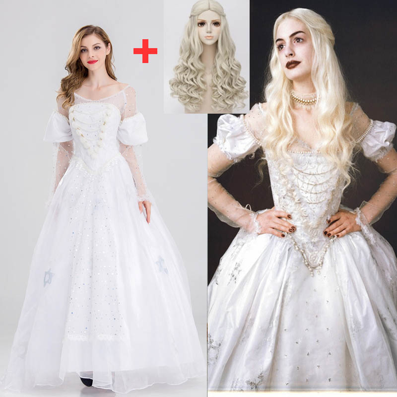 2019 Alice In Wonderland Cosplay Costume The White Queen Mirana Fancy Dress Adult Halloween Costumes Mirana White Dress With Wig
