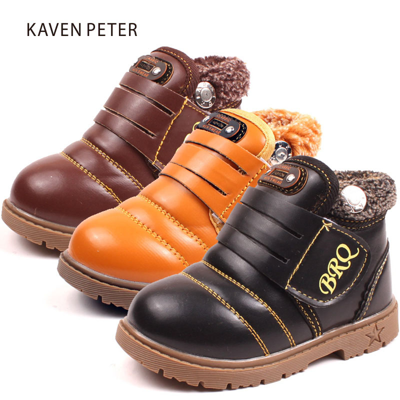 Children shoes girls winte boots ankle snow boots for boys PU with plush keep warm non
