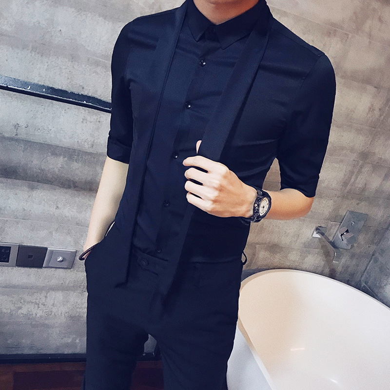 2019 hotel wind summer men 39 s sleeve shirt nightclub Japanese casual dinner five point sleeve solid color shirt in Casual Shirts from Men 39 s Clothing