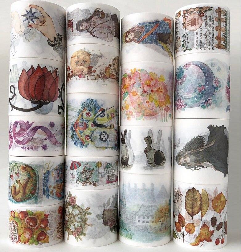 18 Designs Girls/Newspaper/Unicorn/Flowers/Week/Pizza Japanese Washi Masking Tape Decorative Adhesive DIY Paper Stickers Label